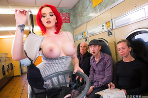 Jasmine James won't let a little spill get her down. She takes her perfect tits straight to the laundromat and strips down to her heels and lingerie in front of all the other customers. This exhibitionist babe knows there's no better way to kill time at t