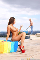 August Ames is a hot, rich housewife with big tits who loves to tan, shop and go to lunch. Her husband is so distracted by her spending habits that he doesn't realize she has her eye on their pool boy, Bill. She decides to take her teasing to the next lev