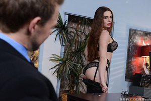 Sexy secretary Veronica Vain will do anything for her boss – even give out footjobs to potential clients like Erik Everhard. He gets a look at her long legs wrapped in sheer black stockings and makes his demands clear: a piece of the secretary's pussy.