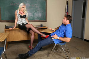 Gigi Allens used to date her student's father. During a parent teacher conference, Gigi does what any rational teacher would do to get back at an ex: she fucks his son.
