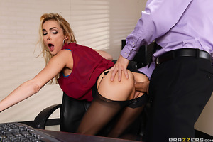 Devon puts in long, hard hours working at a secretary for multiple businessmen. She brings them coffee, answers their phones, lets them play with her huge tits, and sucks their cocks like a pro. It's not an easy job, but somebody has to get fucked.