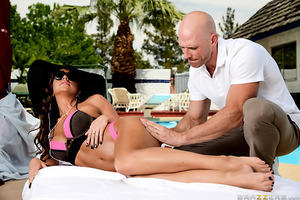 Abigail is relaxing poolside at a fancy hotel when she suddenly craves a deep massage. Johnny, hotel waiter, steps in and oils up her tight, tanned body. His rubdown feels so good it's not long before she's craving something else: a deep, hard cock in her