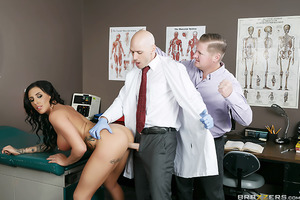 Austin Lynn has an appointment with pervy gyno Dr. Johnny Sins, and her boyfriend doesn't trust that horny bastard for a second. The poor sap does his best to stop Austin from getting too horny, but pretty soon the good doctor decides his presence is too