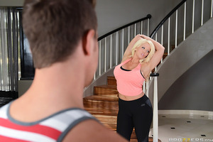 It's time for Van to stop being a couch potato and get some fresh air with his stepmom, Alura Jenson. They go out for a jog and Alura instantly out runs her stepson, but can she out fuck him? This thick, blonde, household matriarch takes Van right there o