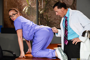 After learning his nurse Maddy Oreilly was stripping ass-naked in the examining room and giving some of his patients hand-jobs on the side for cash, Dr. Di Sergio had to step in and handle things personally. But when the Doctor tried to fire that redheade