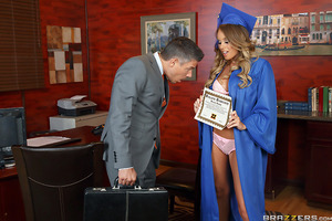 It was exhausting, but Alexis Adams managed to wait all the way until graduation day to fuck Professor Mick Blue. Finally, after years of staring at those big natural boobs, and hiding his boner underneath his desk, Prof. Blue got the chance to rip those