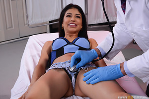 What is Dr. Sins to do when he doesn't understand his sexy Spanish speaking patient Veronica Rodriguez? Well, for starters he can snap on a pair of rubber gloves and give her the most thorough physical he's ever done, exploring every hole from her spicy m