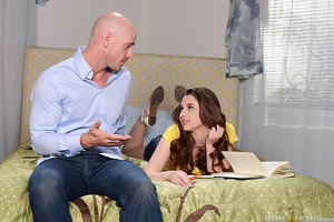 Elektra Rose has been having trouble concentrating on her schoolwork, because this sexy little teen slut can never get cock off the mind! When she even manages to seduce her nerdy study buddy, her stepdad Johnny Sins decides to do the responsible thing an