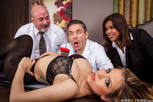 Dr. Blue has to work on his birthday, and as you might imagine, he's not exactly thrilled. When his coworkers bring him a birthady cupcake, he blows out the candle and makes one wish: for a big booty Latina who likes anal! As soon as his next client walks
