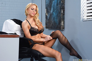 From draining the last of the coffee, to swaggering around the office like she owns the place, Johnny's blonde bitch of a boss is just the worst! But Alix Lynx really crossed the line when she hijacked his delivery and tried on the lingerie Johnny had ord