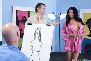 Johnny and the other guys in the art class lucked out today, when scorching hot mamita Missy Martinez walked into the class and let her silk robe fall to the floor. But as you can imagine, their new nude model's big plump all-natural breasts proved such a