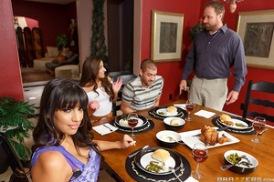 A nice family dinner explodes into chaos when Amirah's dad catches her giving her boyfriend a hand job under the table. When dad leaves to call Xander's parents, step mom Mercedes takes control and defuses the situation with her nimble fingers. Figuring t