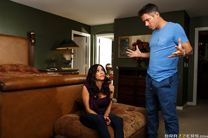 Last time on Making Him Wait, Ariella Ferrera got busted boning her new boyfriend's son. Now, Mick is back and ready to kick that big titted slut out to the curb! Feeling terrible for her actions, Ariella offers to make it up to him by offering up the onl