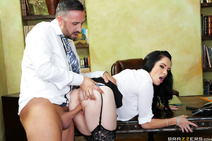 Bella Maree was doing her best to contain her moans of pleasure as her office fuck-buddy Keiran Lee ate her out during a conference call, but when his practiced tongue-fucking started bringing her ever closer to orgasm, she had to hang up so she could suc