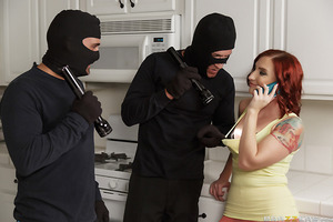 Toni Ribas and Marco Banderas are a couple of bumbling burglars that make so much noise while on the job one day that they wake up the homeowner, curvy slut Sophia Locke! Thinking quick, they tell Sophia that her jealous boyfriend sent them to find eviden