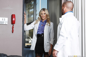 Hospital administrator Marco Ducati has received some complaints about one of his doctors, a busty blonde beauty named Audrey Show. Determined to show his clients that he's no slouch when it comes to disciplining his staff, he calls Dr. Show into his offi