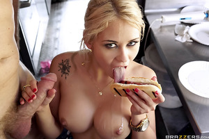 Behold the ultimate in naughty voyeur sex as Marsha May works a busy hot dog stand while getting her tight pussy eaten, fingered, and fucked hard! Levi gets busy working behind the counter while Marsha tries to keep a straight face serving customers as sh