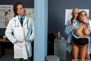 You better believe any free second Dr. Sins and Dr. Payton West find in their day, they run immediately to an unused room for a quickie. Johnny can't get enough of Payton's big juicy tits, as you'll see from the way he licks and caresses her nipples. When