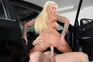 With her marriage on the rocks thanks to her loser husband, Lolly Ink was in serious need of a real man's company.  Lolly found her chance to get some relief one day when she and her husband pulled into the garage only to discover a burglar had broken in.