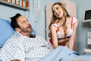 The patients may love Shawna Lenee's hands-on approach, but when the hospital found out she was giving handies on her rounds, a doctor came by the check it out. Dr. Lee visited Shawna on duty and asked to see the slutty nurse costume she was wearing under