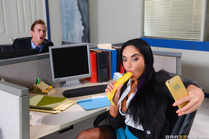 After months of watching his co-worker Selena idle away the hours at her desk, Danny had finally had enough. Even with a stacked latina babe like Selena, how long could a guy watch his lazy colleague snap dirty selfies all day and pretend to suck off bana