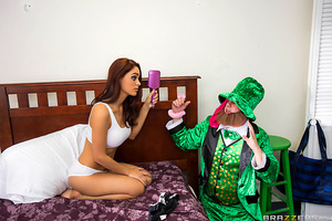 Jasmine, alone in her room, is surprised by a sound in her closet. She opens the door to find a lusty leprechaun obsessed with her panties. After wrestling him to the floor and handcuffing him to her bed, the little green man has no choice but to grant th