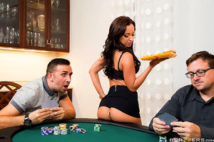 How in hell are the guys at Keiran's poker night supposed to focus on the cards when buddy's wife is walking around dressed like a Vegas callgirl? When Keiran's buddy ran out of money, the only thing left to bet was a crack at his wife Jada Stevens's ass.