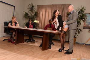 When Stephani gives her first presentation at her new job, she's surprised by the way things go down in this office. Her boss Mr. Sins, interrupts her speech with his hard dick pressing up against her sweet ass. He gropes her huge tits then rips open her