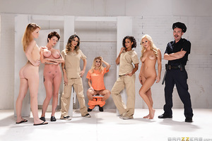 After getting strip-search by a horny guard who made her get naked and spread her cheeks before putting on the orange uniform, Natalia was at the mercy of her fellow inmates at the women's prison. When Skin Diamond spotted her watching Nadia shave her pus