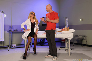 When a patient came in complaining about her husband's big cock breaking her vagina, Dr. Jessa Rhodes had to see for herself what all the fuss was about. Telling him to drop trou, Jessa stroked Johnny's cock until it was rock hard to see just how big it c