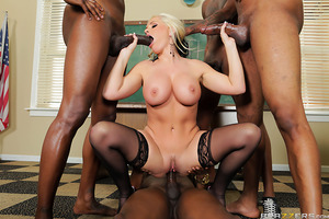 Alena Croft takes her career as a substitute teacher very seriously, but when she gets assigned to an entire classroom full of big black cocks, her slutty side takes over! Dropping to her knees in the center of a circle of fat dicks, Alena takes her time