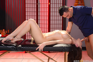 When you've got a body like Molly Jane, it's not hard to get what you want. So when she walks into the massage parlor and strips out of her white panties, big natural tits peeking out through her sheer top, masseur Ike Diezel knows exactly what this lovel