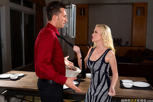 When Madison Scott realized her husband wasn't able to man up and just ask for the raise he deserves, this blonde babe decided to take matters into her own hands. Madison went out of her way to seduce Ike's boss, Mr. Sins. After teasing him with glimpses
