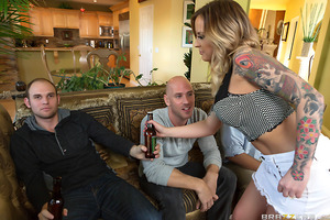 Payton West has been fucking her husband's best friend Johnny Sins for years, and the poor sap has no idea! It's game day, and like usual, Payton is on her knees sucking off Johnny fat cock while her oblivious hubby sits and watches TV with his buddies. I