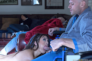 An accident in the yard put Johnny out of commission for a little while. But luckily his daughter's friend Daisy Haze had some nursing experience, and was willing to help him get back on his feet. Daisy's smoking hot body gave Johnny a huge boner and made