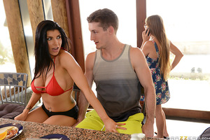 With breakfast frying on the stove, Brick Danger fled from his nagging wife to kiss wake up his new lover Romi Rain in bed. With her husband shaving just feet away in the bathroom, Romi teased Brick with a deep, messy blowjob, then jumped on top reverse c