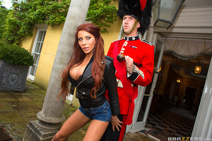 Madison Ivy's tour of London continues with her lifelong dream of making a Palace Guard on duty move. After groping Danny's big sausage, and teasing him, she finally got Danny to give her bare breast a honk! Madison continued her scandalous ways inside th