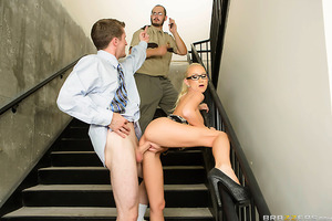 Madison Scott has problems paying attention at her work, because she just can't keep her eyes off her hunky co-worker Brick Danger. When the clock approached 3:30pm, Brick snuck off, and Madison waited feverishly for her chance to meet Brick in the stairs