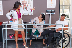 Dr Mercedes Carrera isn't above doing whatever it takes to rehabilitate her patients. When she couldn't motivate her patient Ramon to walk on his own, she took out her big beautiful tits as an incentive. You can bet Ramon found the will to walk over close