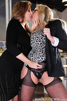 Julia Ann could not have been more frustrated with Olivia Austin's slutty behavior in the office. If that slut thinks fucking the CEO is going to get her anywhere, then Julia is going to have to show her who's really in charge around the office, with an a