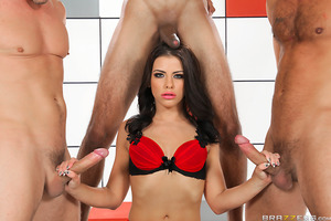 One cock could never be enough for a truly hardcore nympho slut like Adriana Chechik. As she wrapped up her treatment for sex addiction with Dr. Lee, the second step involved being tempted with three strapping men horny to gang-bang her. The three hung br