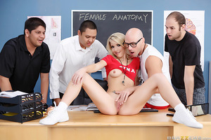 When the guys in Mr. Sins's Sex Ed class weren't grasping the basics of anatomy, Mr. Sins brought in another teacher Ms. Bentley to help him out. Considering Ms. Bentley had taken his own virginity, and introduced him to all the fun of sex in their privat
