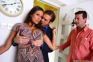 Sensual Jane's husband made the colossal blunder of inviting his suave, handsome co-worker over to help him work. Jane was tempted to commit adultery against her loser husband the moment she locked eyes on Ryan. once she got the idea, Jane strutted around