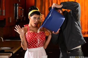 The bored, sexy housewife Peta Jensen is tired of her husband, Bill Bailey, and his inability to follow through with what he says. She gets dripping wet at the thought of him fucking her pussy raw. Peta's just craving to be bent over the kitchen table and