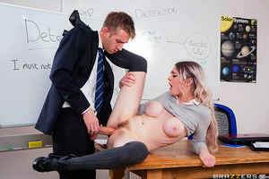 Mr. D wants his students to think he's cool, but he's no match when it comes to Carly Rae. The sexy schoolgirl is bored in detention and decides to tease him with her perky, pierced tits. She takes full advantage of her dorky teacher's massive boner by de