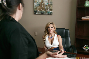 Johnny Sins has come to his wife's office to bring her a surprise lunch when he accidentally stumbles upon her being fired by her bitchy boss Cherie Deville. Johnny will now do whatever it takes to convince Cherie to change her mind, even if it means fuck