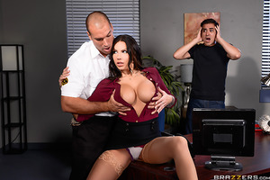 Lylith Lavey sneaks her boyfriend into her office building for a late night tryst but the poor sap is too nervous to get it up. By the time the time security guard Sean Lawless busts them, Lylith is beside herself with sexual frustration. Recognized a gol