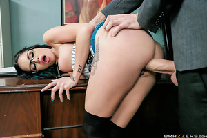 Raven loves working for Mr. D. because whenever she makes a mistake, he lets her know. She loves being disciplined with rough sex and can't get enough of his huge dick. But lately Mr. D. has been too busy with work to discipline her, so Raven starts makin