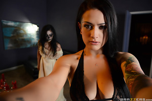 Be careful which house you buy, you never know if it will be haunted! At least, that's what newlyweds Katrina Jade and Erik Everhard are about to find out! When sexy, busty Katrina begins to feel the house is spooking her, Erik tries to calm her by fuckin
