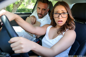Sara Luvv is trying to get her license but even at 19 she's a disaster on the road. Luckily for her, there are other ways to pass the driving test, namely by fucking the big-dicked tester Keiran so long as she can fit his massive cock into her tight pussy